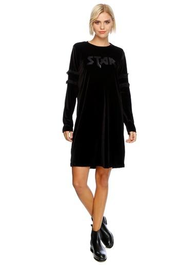 Uzun Kollu Kadife Elbise-Black Pepper